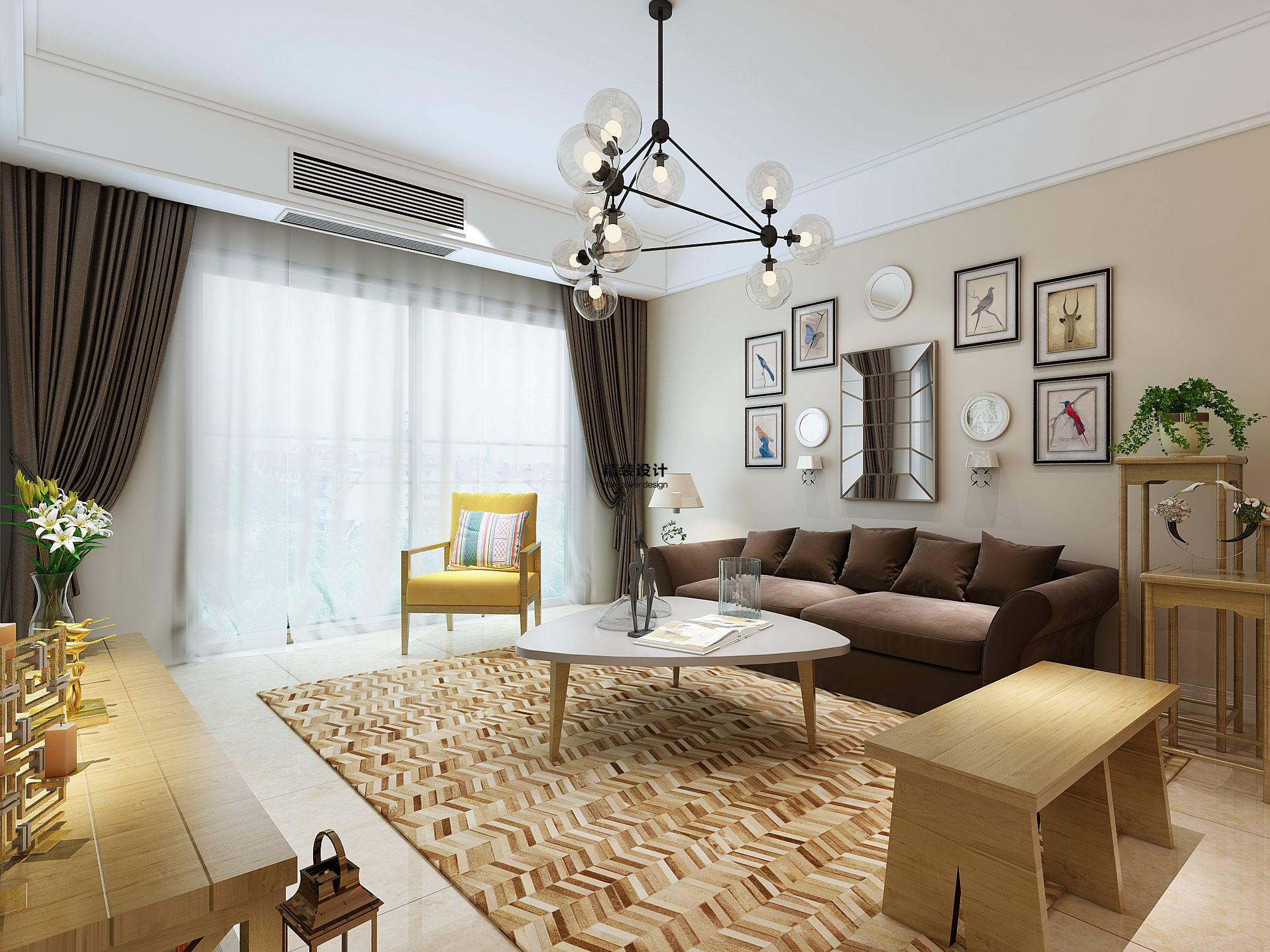 维也纳森林88平方两室两厅现代简约装修效果图
